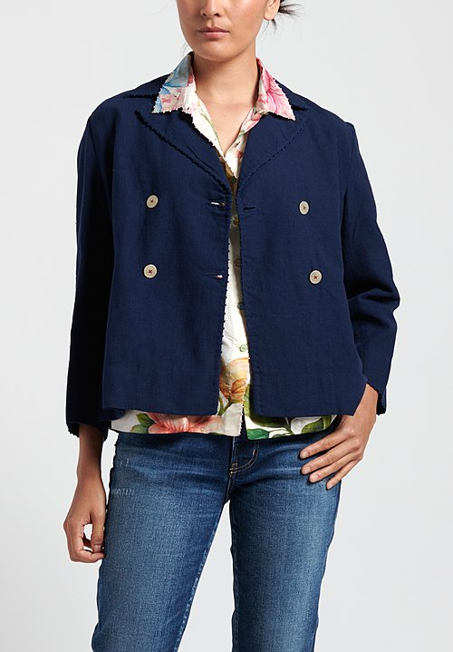 Péro Linen/ Silk Double Button Jacket in Navy
