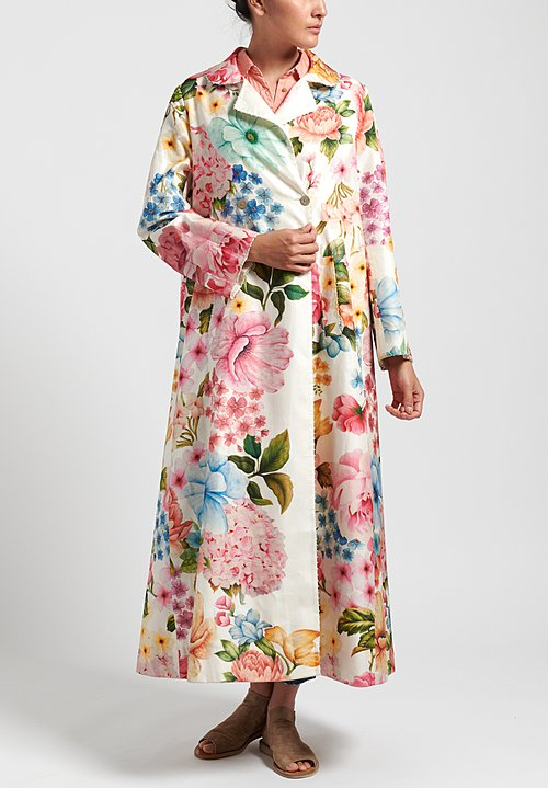 Péro Silk Floral Double Breasted Coat in White