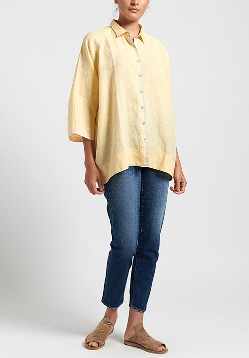 Péro Linen Button Down Shirt in Yellow