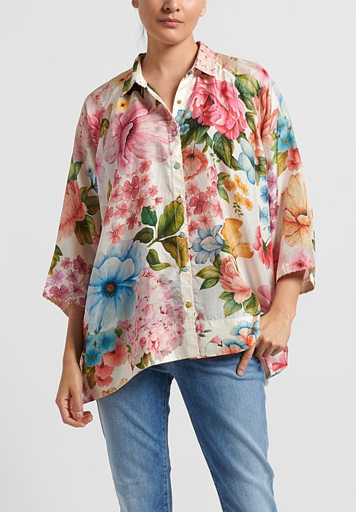 Péro Silk Floral Button Down Shirt in Multi