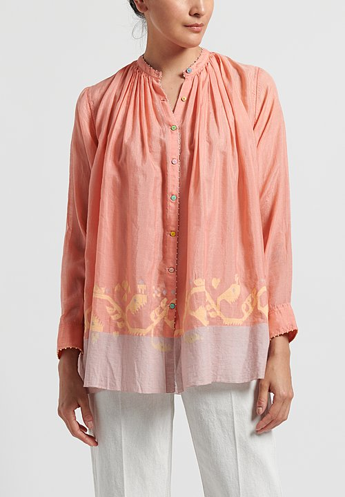 Péro Cotton/ Silk Gathered Button Down Shirt in Pink