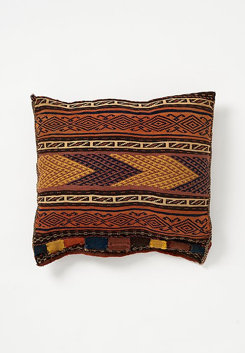 Antique and Vintage Wool Afghan Soumak Pillow in Orange