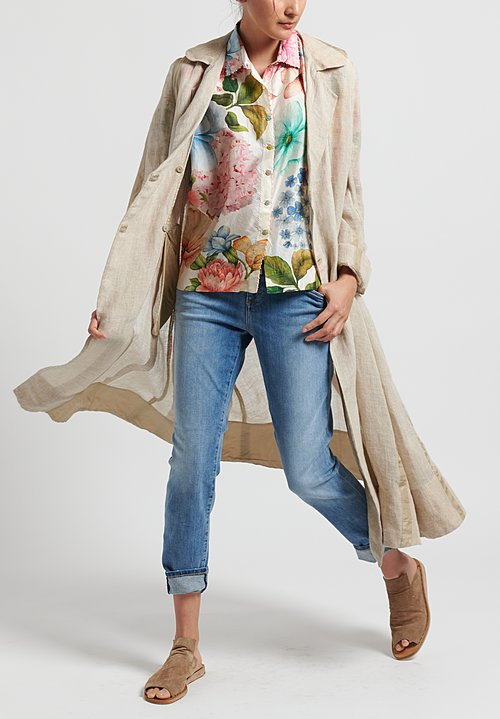 Péro Silk Floral Oversize Button Down Shirt in Multicolor
