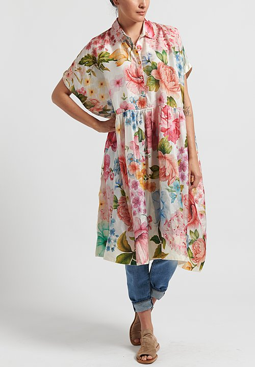 Péro Cotton/ Silk Floral Oversize Dress in Pink