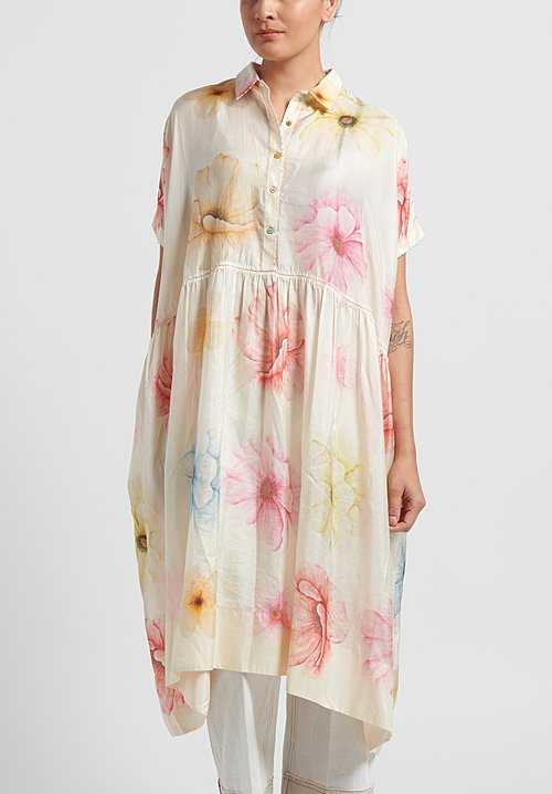 Péro Cotton/ Silk Floral Oversize Dress in White