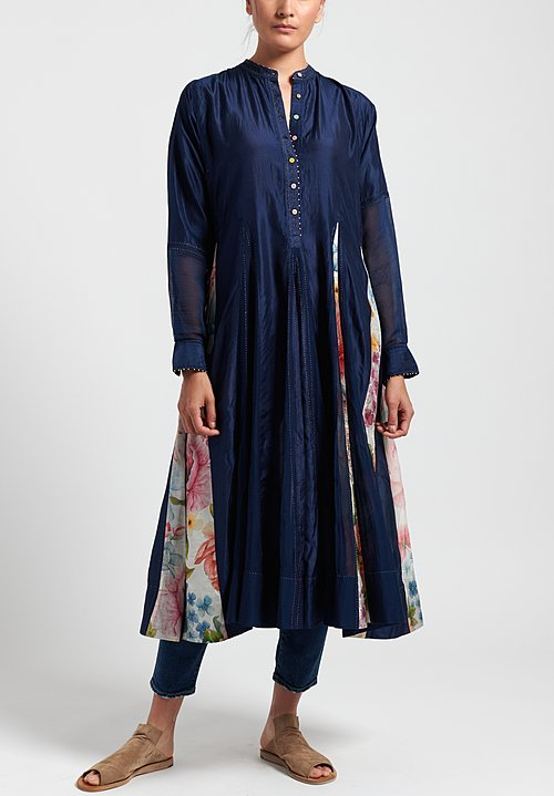 Péro Cotton/ Silk Long Dress with Floral Panels in Navy