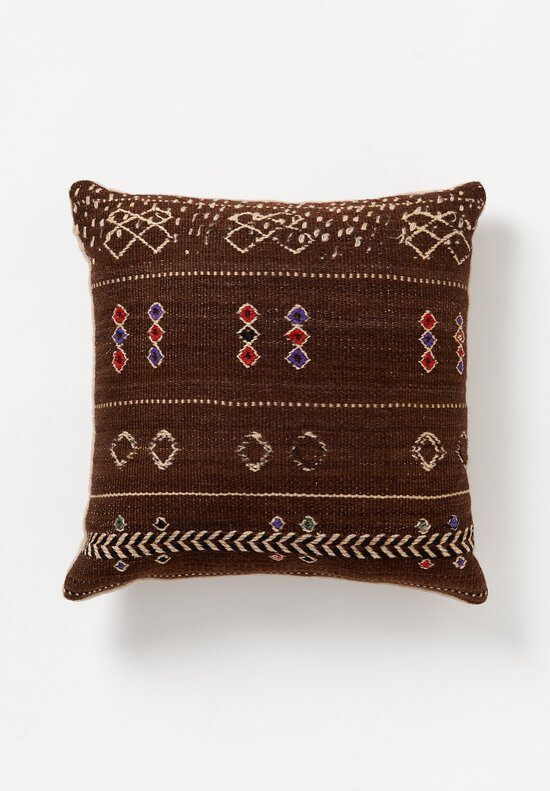 Antique & Vintage Antique and Vintage Wool Hand-Loomed Moroccan Square Pillow in Brown	Wool Vintage Hand-Loomed Moroccan Square Pillow in Brown