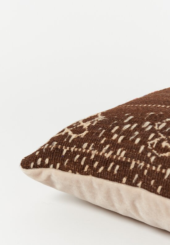 Antique and Vintage Wool Hand-Loomed Moroccan Square Pillow in Brown