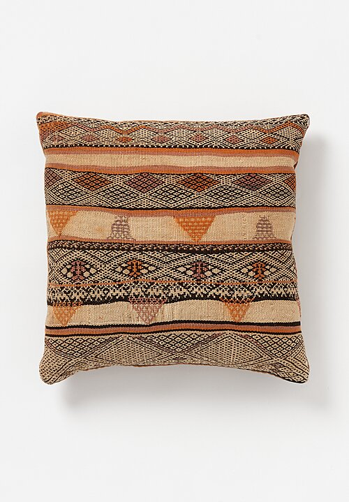 Wool Vintage Hand-Loomed Moroccan Geometric Square Pillow