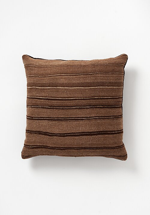 Wool Vintage Hand-Loomed Stripes Square Pillow in Brown