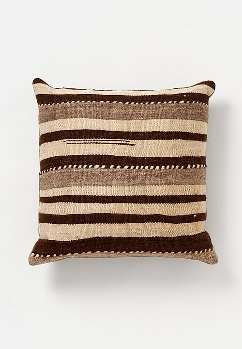 Wool Vintage Hand-Loomed Twisted Stripe Square Pillow in Natural