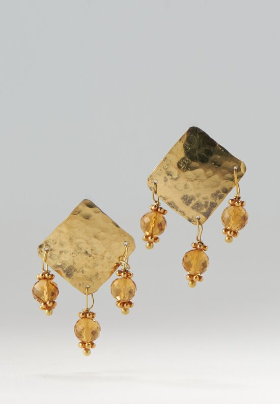 Greig Porter 18K, Citrine 3 Dangle Post Earrings