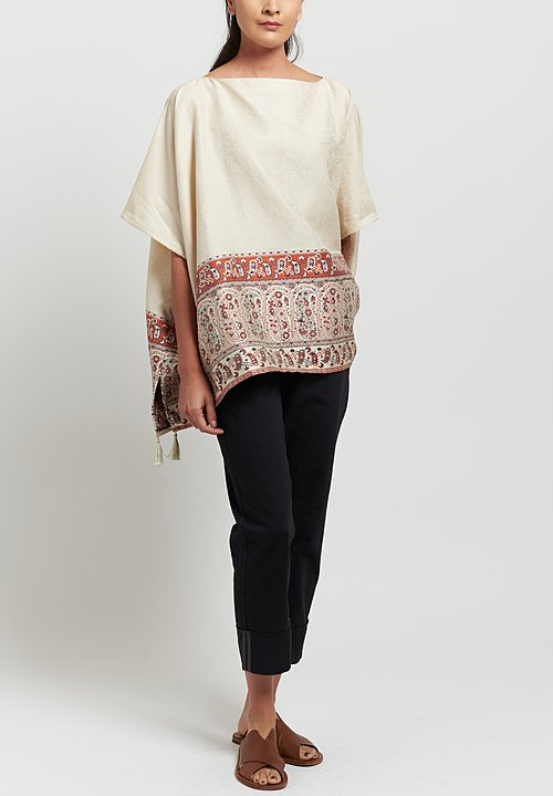 Etro Cotton/ Linen Paisley Print Poncho in Ivory