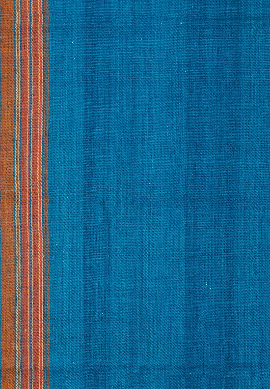 Antique and Vintage Bhujodi Tassel Throw in Deep Turquoise