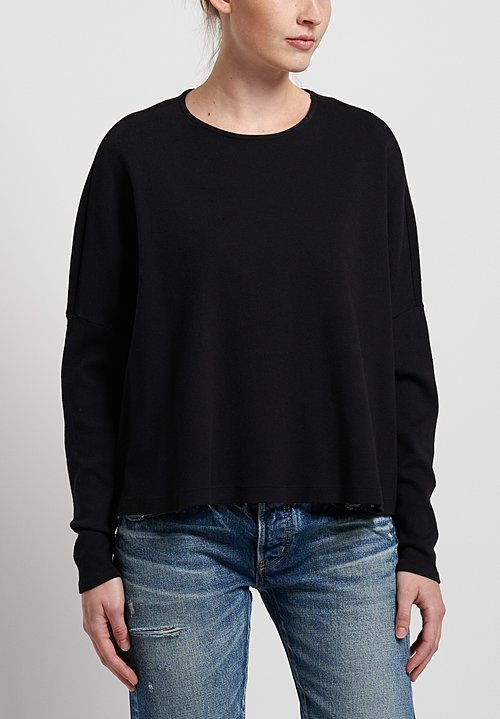 GRP1 Knits Cotton Oversized Cropped Pullover in Black