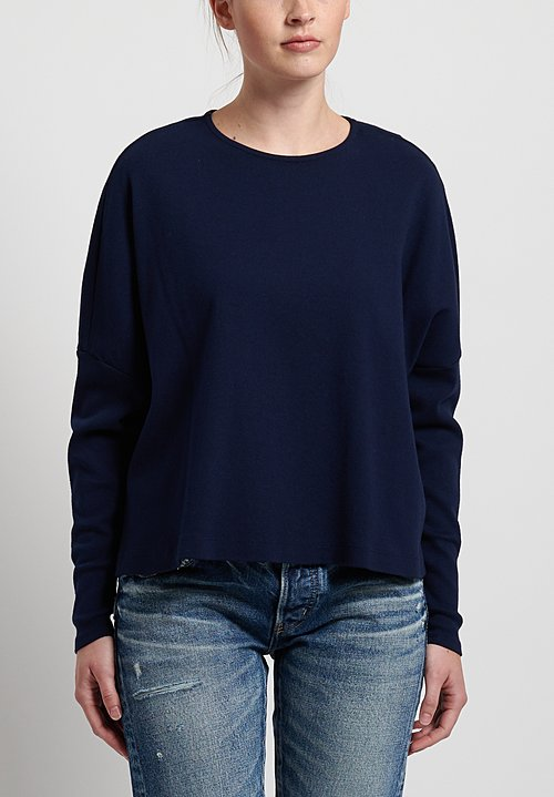 GRP1 Knits Cotton Oversized Cropped Pullover in Navy