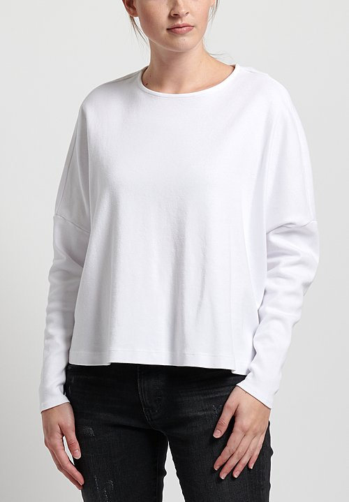 GRP1 Knits Cotton Oversized Cropped Pullover in White