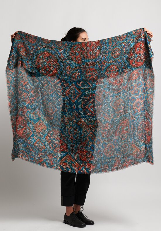 Alonpi Cashmere Printed Square Scarf in Teal