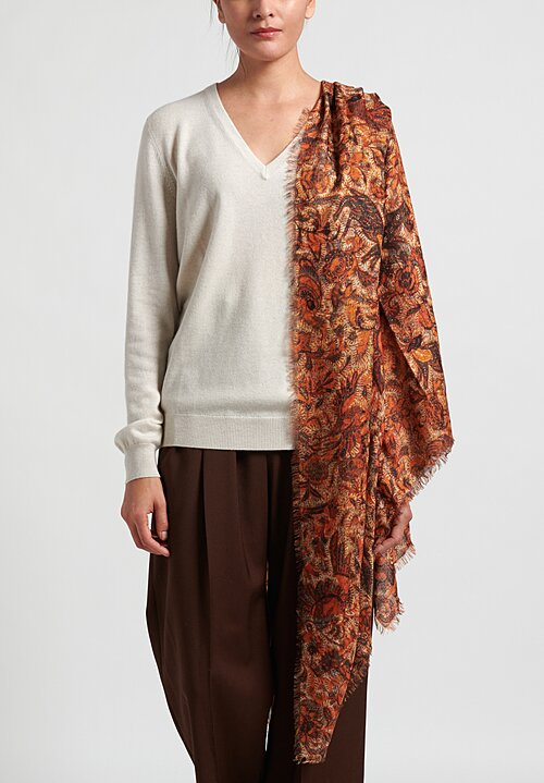 Alonpi Cashmere Printed Square Scarf in Echo Orange