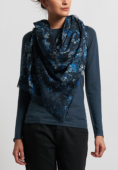 Alonpi Cashmere Printed Square Scarf in Raven Black