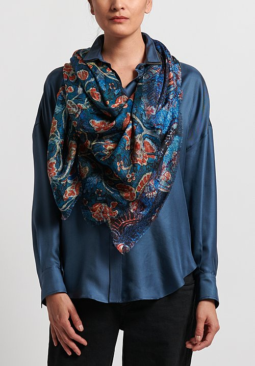 Alonpi Cashmere Printed Square Scarf in Blue