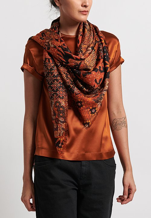 Alonpi Cashmere Printed Square Scarf in Willow Orange