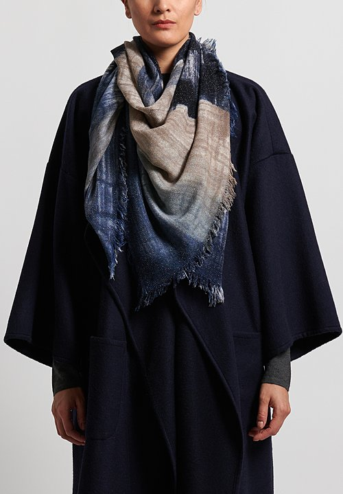 Alonpi Cashmere Handpainted Alice Scarf in Blue