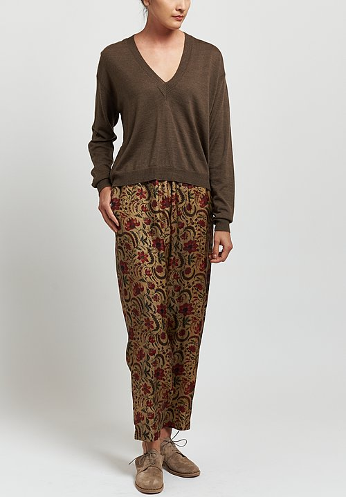 Uma Wang Moulay Floral Palmer Pants in Tan/red
