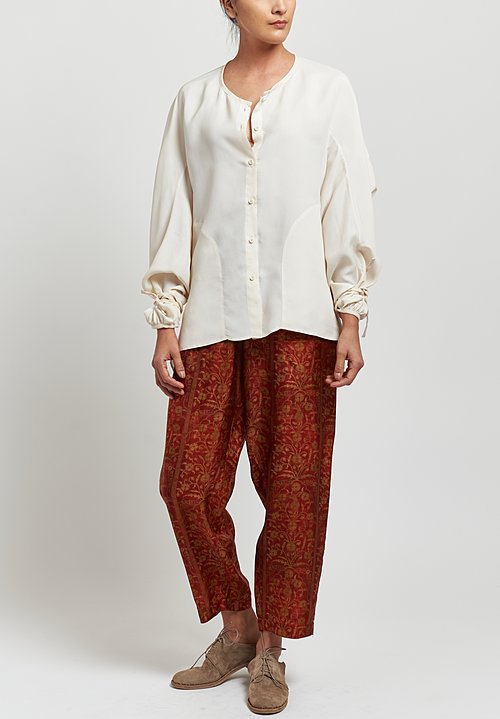 Uma Wang Moulay Floral Palmer Pants in Red/tan
