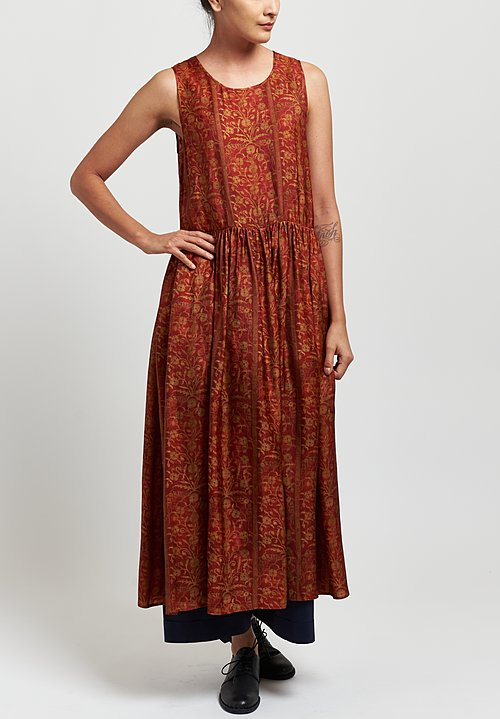 Uma Wang Moulay Ardal Sleeveless Floral Dress in Red/ Tan