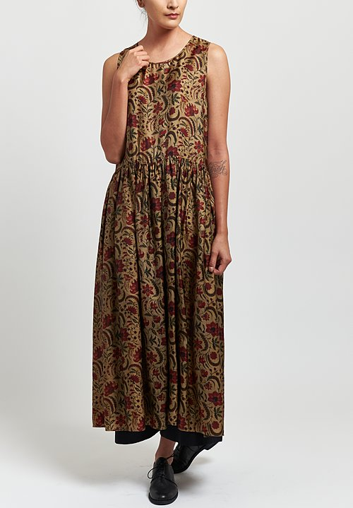 UUma Wang Moulay Ardal Sleeveless Floral Dress in Tan/ Redma Wang Moulay Agina Floral Print Dress in Tan/ Red