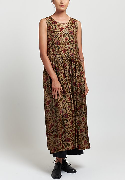 Uma Wang Moulay Ardal Sleeveless Floral Dress in Tan/ Red