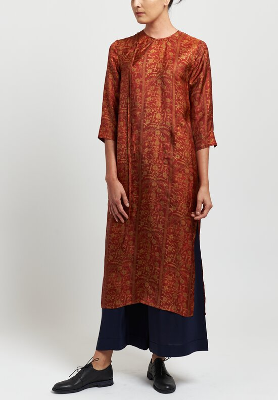 Uma Wang Moulay Agina Floral Print Dress in Red/ Tan