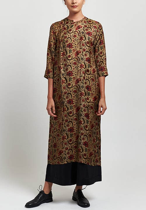 Uma Wang Moulay Agina Floral Print Dress in Tan/ Red