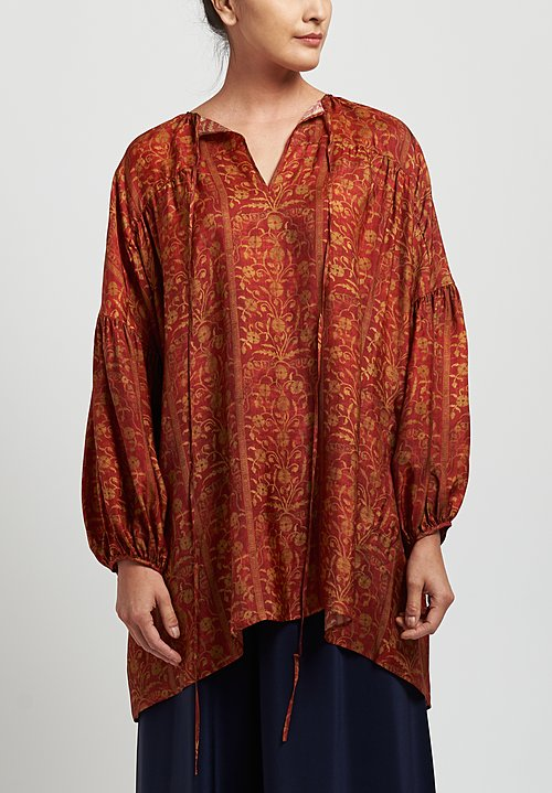 Uma Wang Moulay Tierra Top in Red/ Tan