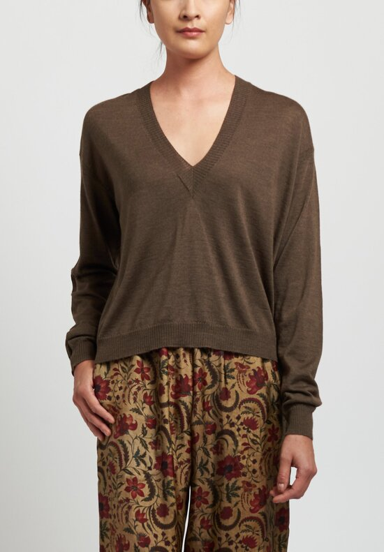 Uma Wang Silk Deep V-Neck Top in Brown