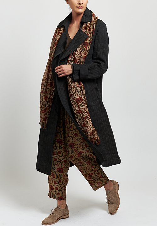Uma Wang Linen Nebida Ciana Coat in Black