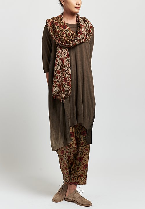Uma Wang Floral Print Frayed Edge Scarf in Tan/Red