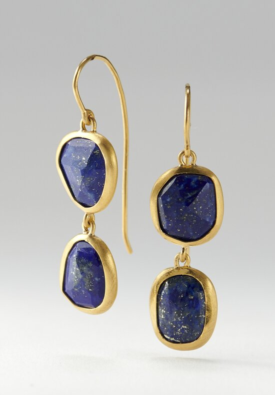 Greig Porter 22K & Lapis Lazuli Double Drop Earrings