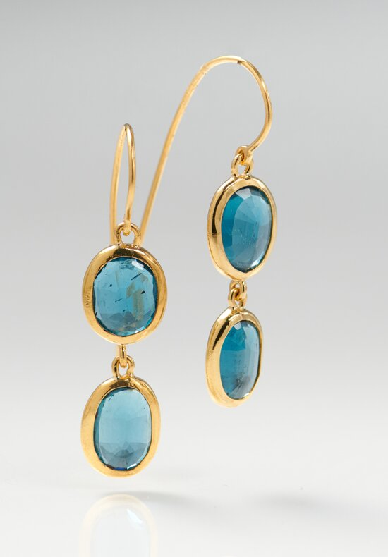 Greig Porter 22K, LB Topaz Double Drop Earrings