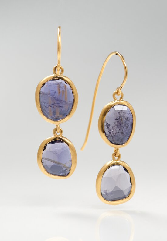 Greig Porter 22K, Tanzanite Double Drop Earrings