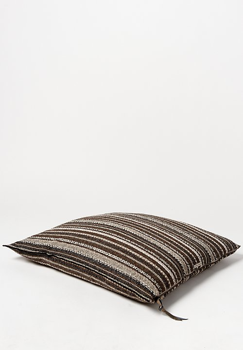 Maison de Vacances Large Square, Canvas Bivouac Striped Pillow in Ecorce