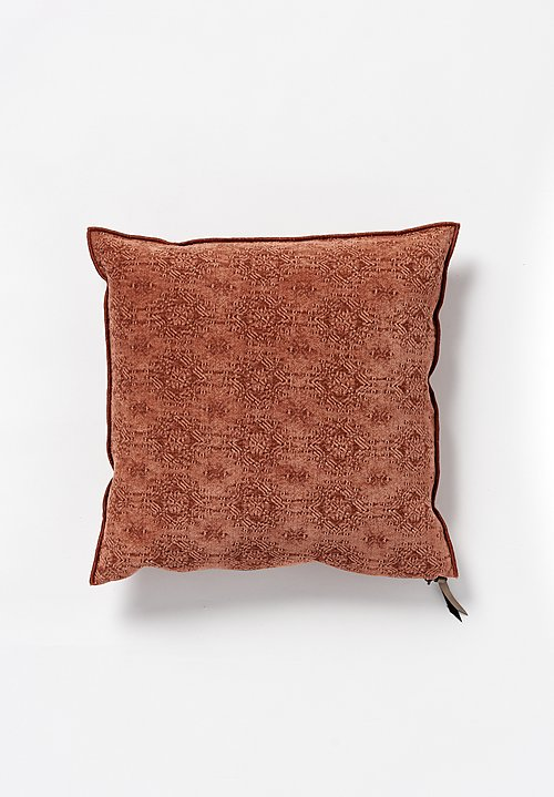 Maison de Vacances Square, Stone Washed Jacquard Pillow in Kilim Argile