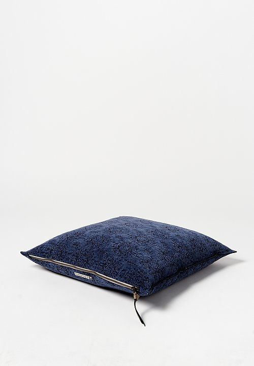 Maison de Vacances Square, Stone Washed Jacquard Pillow in Kili Bleu Nuit