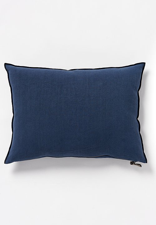 Maison de Vacances Stone Washed Linen Pillow in Bleu Nuit