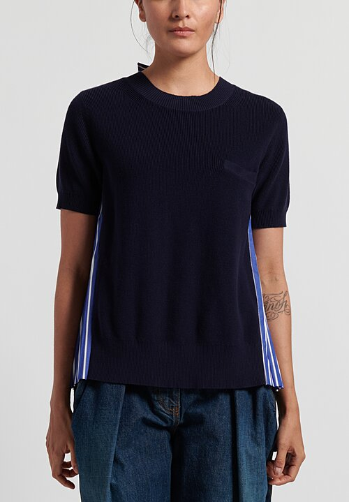 Sacai Cotton Knit Pullover with Pleated Back