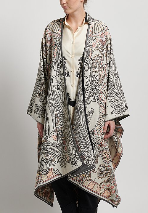 Etro Wool Paisley Print Cape in White