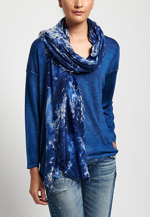 Avant Toi Cashmere Camouflage Felted Scarf in Denim