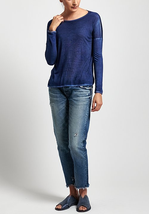 Avant Toi Micromodal Long Sleeve Relaxed Tee in Denim