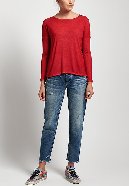 Avant Toi Micromodal Long Sleeve Relaxed Tee in Rose